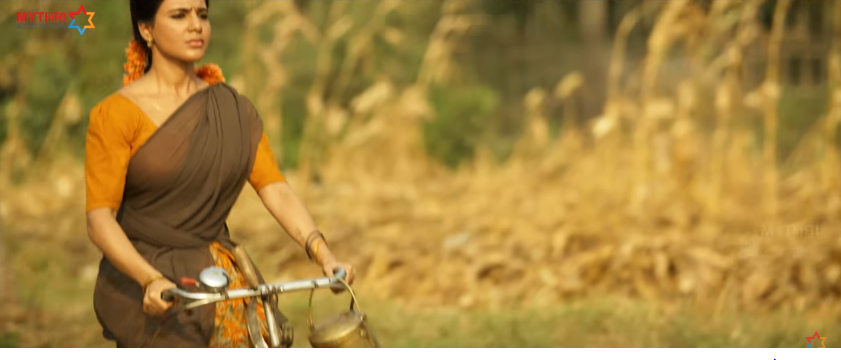 Samantha as  Rama  Lakshmi in Rangasthalam movie riding a bicycle